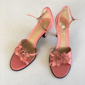 Franco Sarto leather floral heeled sandals